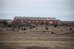 Munitions building amid sand prairie threatened by encroaching cedars.