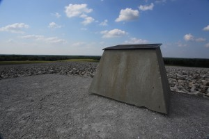 Monument atop the radiation containment hill at Weldon Spring, MO, site of a former uranium processing plant.